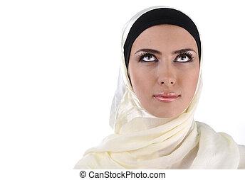 beau, regarder, femme, musulman, haut