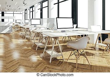 beau, render, bureau, moderne, intérieur, 3d