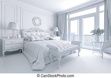 beau, render, classique, chambre à coucher, intérieur, 3d