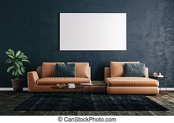 beau, render, plancher, bois, sofa, intérieur, 3d