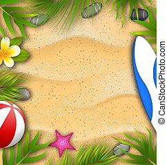 beau, ressac, fleur, affiche, texture, feuilles, sable plage, paume, frangipanier, planche, etoile mer, balle