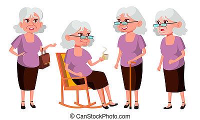 beau, retiree., femme, vieux, vector., gens., person., isolé, personnes agées, impression, présentation, ensemble, illustration, aged., invitation, life., personne agee, poses, dessin animé, design.