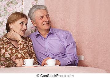 beau, retraité, séance, gens, ensemble, paire