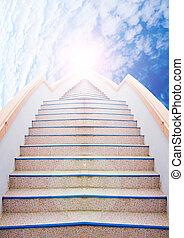 beau, reussite, escalier, échelle, ciel, :, nuage