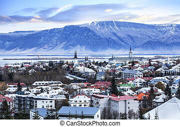 beau, reykjavik, aérien, ville, iceland., vue