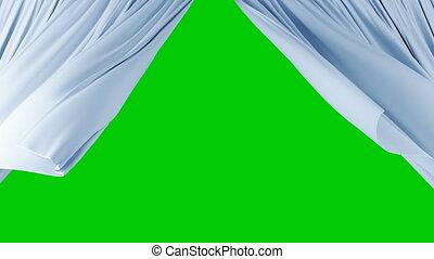 beau, rideaux, vent, soyeux, lumière, révéler, écran, onduler, arrière-plan., animation, vert, 4k, mask., alpha, ultra, hd, 3d