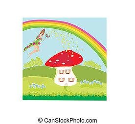 beau, rigolote, champignon, maison, fée, dessin animé