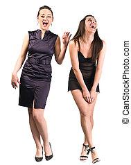 beau, rire, deux femmes