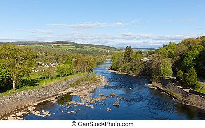 beau, rivière, écossais, pitlochry