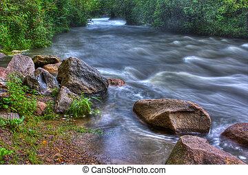 beau, rivière, hdr, rapides