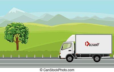 beau, road., camion livraison, dépassement, paysage