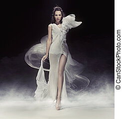 beau, robe, blanc, brunette, dame