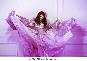 beau, robe, femme, coup, mur, mouvement, girl, brunette, magnifique, intérieur