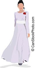beau, robe, girl, blanc, whi