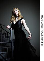 beau, robe, girl, noir