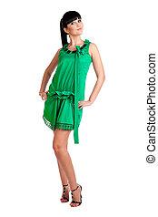beau, robe, girl, vert, brunatte