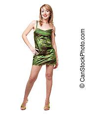 beau, robe, girl, vert, chaussures