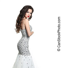 beau, robe, ondulé, brunette, sequins, mariée, dress., perlé...