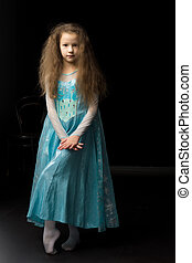 beau, robe port, girl, carnaval, princesse, bleu
