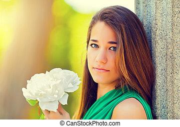 beau, rose, blanc, adolescent