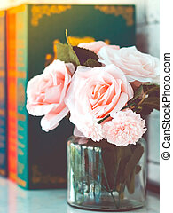 beau, rose, blanc, trois, image, blured, table, roses, ...