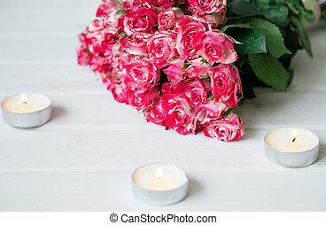 beau, rose, bois, bougies, surface, roses, blanc