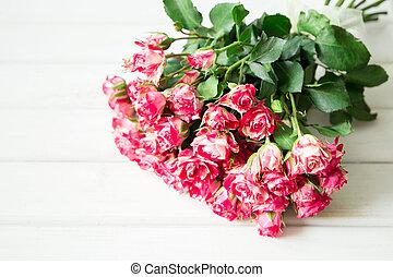 beau, rose, bois, surface, roses, blanc