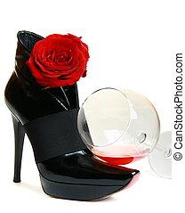 beau, rose, bottes, arrière-plan., verre, blanc