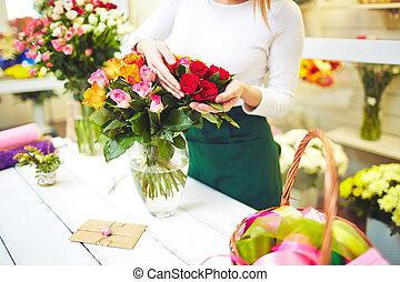 beau, rose, bouquet