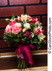 beau, rose, bouquet, roses, mariage, fleurs blanches