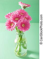 beau, rose, bouquet, vase, fleurs, gerbera