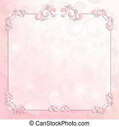 beau, rose, cadre, fond