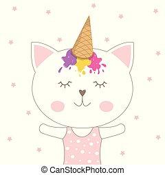 beau, rose, casquette, glace, chat, arrière-plan., adorable, crème