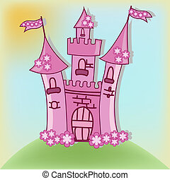 beau, rose, château
