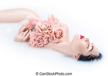 beau, rose, concept, girl, bain, prendre, maquillage, roses, clair, mode, peau, spa, modèle, lait, soin