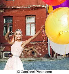 beau, rose, elle, robe, cheveux, tenue, ensembles, girl, heureux, ballons, tas