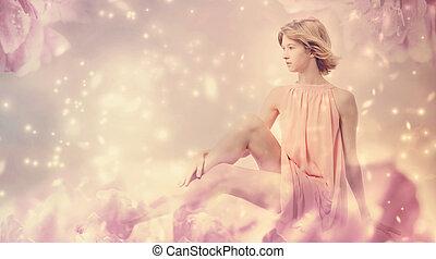beau, rose, femme, pivoine, fantasme, poser