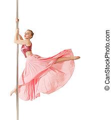 beau, rose, femme, poser, robe,  poledance