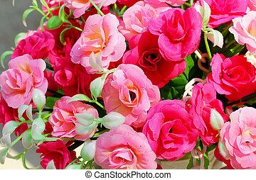 beau, rose, fleurs, artificiel