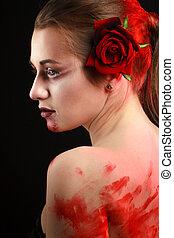 beau, rose, gothique, sanguine, blood., portrait, girl