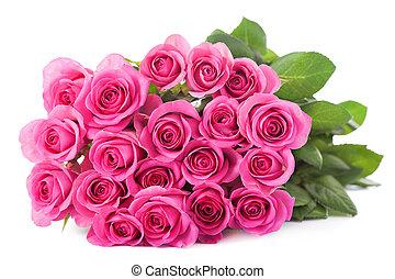 beau, rose, isolé, bouquet, roses
