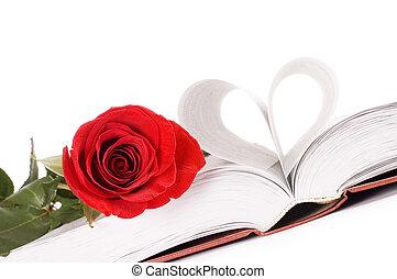 beau, rose, livre, rouges