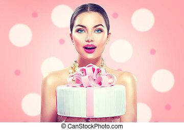 beau, rose, mode, tenue, girl, anniversaire, fond, gâteau, fête, modèle, ou