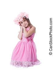 beau, rose, peu, guirlande, girl, robe