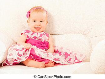 beau, rose, peu, séance, divan, joli, bébé, maison, sourire, robe, girl