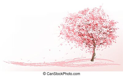 beau, rose, vector., arbre., sakura, fond, fleurir