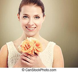 beau, roses, femme, jeune, tenue