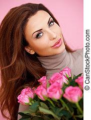 beau, roses, femme souriante