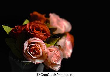 beau, roses, fleurs, bouquet, fond