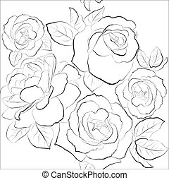 beau, roses, seamless, fond